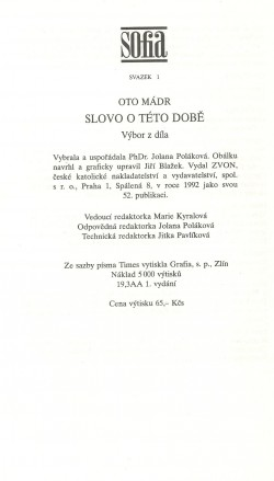 Slovo o této době / Oto Mádr, A Word About This Time (About the book) / strana 320